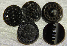Lot of Antique Vintage Black Glass Buttons Brass Shank #816-A
