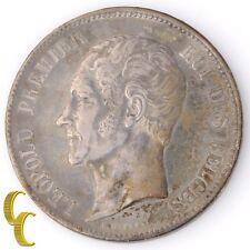 1849 Belgium 5 Franc, 5 Frank (Extra Fine, XF) King Leopold Silver KM#17