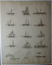 NAVIRES ITALIENS & SICILIENS Tartane Paranzella planche du XIX e 1889 /SM7