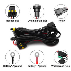 HID Anti Flicker Relay Wiring Harness For Xenon Conversion Kit H8 H11 9005 9006