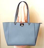 Michael Kors Tina Pale Blue Saffiano Leather Large Tote
