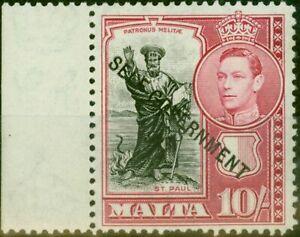 Malta 1948 10s Black & Carmine SG248 Very Fine MNH