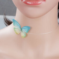 Organza Ethereal Butterfly Floating Choker Necklace with Rhinestone