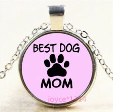 Best Dog Mom Cabochon Silver/Bronze/Black/Gold Glass Chain Necklace #7138
