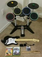 Xbox 360 Rock Band 2 Bundle Wireless Drums Wired Fender Guitar & 2 Games TESTED
