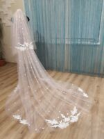 NEW Blush Lace 2M 2T Wedding Veils Chapel Train White/Ivory Appliques Custom