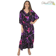 Kaftan Maxi Purple Hibiscus Tie-Up Waist Plus Size
