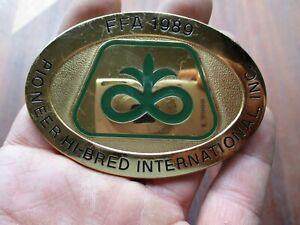 Vintage FFA 1989 Pioneer Hi-Bred Seed International Belt Buckle Farm