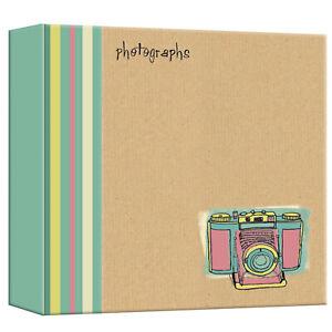 "Large Brown Kraft Paper Style Camera Design Slip In Photo Album 4x6"" 500 Photos"