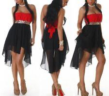 SeXy Damen Vokuhila Chiffon Mini Kleid Bandeau Pailletten 34/36/38 rot schwarz