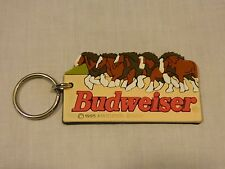 BUDWEISER ANHEUSER BUSCH RUBBER LASER CUT KEYCHAIN WITH CLYDESDALES