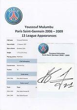 Youssouf Mulumbu paris saint-germain 2006-2009 original hand signed coupe/carte