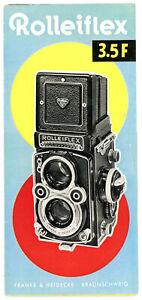 FRANKE & HEIDECKE Prospekt ROLLEIFLEX  3.5 F von 1958 Kamera Broschüre (Y1137
