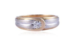 1/4 Cts F/VS1 Round Brilliant Cut Natural Diamond Men's Wedding Ring In 14K Gold