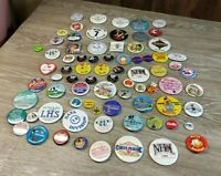 """⚡LOT of 76 Vintage 1980's -1990's Collectible Pin Back Buttons """"Old School"""""""