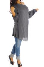 Maglie e camicie da donna grigi seta , Taglia 42