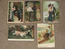 5 Romantic Postcards, used vintage cards