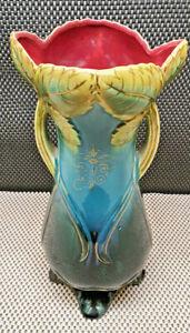 Antique Vase Slip Deco Leaf Gilding Interior Pink Onnaing? Art Nouveau