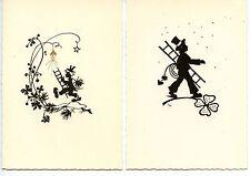 Silhouette-Little Boy in Top Hat-Ladder-Chimney Sweep-Lot of 2 German Postcards