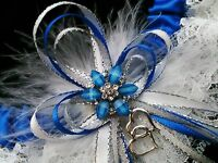 PLUS SIZE Royal Blue and White Lace GARTER FEATHERS Prom Wedding Special Bridal
