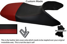 BLACK AND DARK RED CUSTOM FITS HONDA TRANSALP XL 650 LEATHER SEAT COVER ONLY