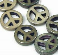 """15mm Olive Turquoise Peace Sign Filigree Beads 16"""""""