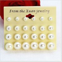 Fashion 2 Pairs Different size white Cultured Freshwater bead Pearl Earring Stud