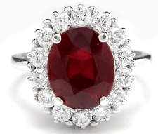 6.15 Carats Natural Red Ruby and Diamond 14K Solid White Gold Ring