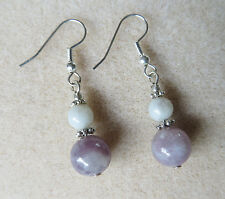Lilac stone drop silver plated hook earrings E325
