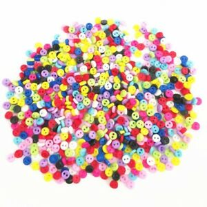 300 5mm ROUND TINY SMALL RESIN DOLL BUTTONS MIXED COLOUR CRAFT SCRAPBOOK SEWING