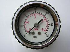 SMALL BULKHEAD FITTING DIAL GAUGE - 0 TO 60 PSI - 4 BAR - NEW