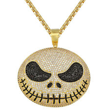 Jack Skeleton Pendant Custom Nightmare 14k Gold Finish Christmas Iced Out Chain