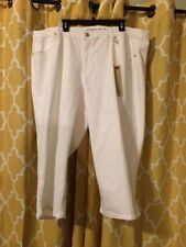 NWT CODE BLEU Womens Plus 24W Andrea Cropped Capri WHITE Jeans Retails 65
