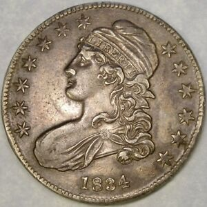 1834 CAPPED BUST LETTERED EDGE SILVER HALF DOLLAR SCARCE BEAUTIFUL OVERTON #116