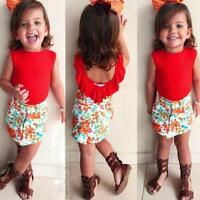 2 pcs/Set Kids Girls Sleeveless Tops Short Floral Dress Skirt Outfits Clothes