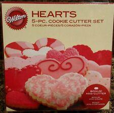 Wilton 5 piece Heart Cookie Cutter Set Includes Bonus Mini Cutter NEW!