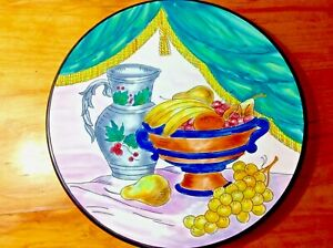 "Still Life Fruits/pitcher/bowl 10.5"" Diameter HAND PAINTED plate/charger/Spain"