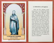 Santino Holy Card: S. Santo Stefano Re d'Ungheria