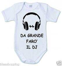 BODY bianco in cotone bambino bambina con scritta DA GRANDE FARO' IL DJ