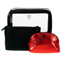 Victoria's Secret Black and Gold Cosmetic Makeup Bag 3 Piece