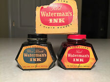 Lot of 2 Vintage Collectible 2 oz. WATERMAN'S GLASS INK BOTTLES Blue/Black & Red