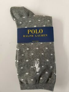 Polo Ralph Lauren womens socks Gray with white Dots White pony One Pair