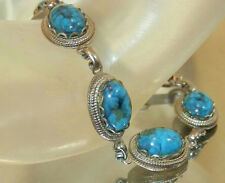 WOW WOW So Pretty Vintage 70's Super Good Looking Faux Turquoise Bracelet 286jl7