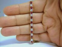 8Ct Red Ruby & Diamond 14k Yellow Gold Over Women's Tennis Bracelet For Gift