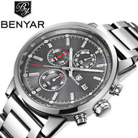 BENYAR Men Business Fashion Stainless Steel  Quartz Wrist Watch Date Chronograph