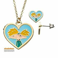 Nickelodeon Hey Arnold! Heart Locket - Stainless Steel Necklace & Earring Set