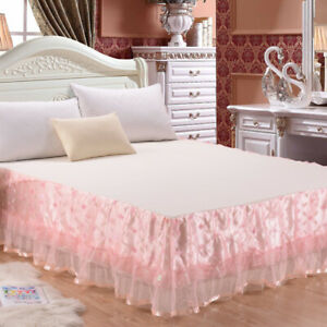 Lace Floral Dust Ruffle Bed Skirt Fitted Bed Sheet Bedspread Home Bedding Decor