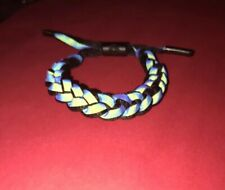 Lion Head Unisex Iridescent Shoelace Wristband Bracelet - Black