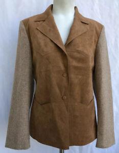 Lilli Ann San Francisco Vintage Wool Suede Jacket Tweed Blazer Camel Sz Small
