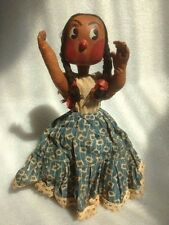 "ANTIQUE NATIVE AMERICAN INDIAN FABRIC-IN-CLAY DOLL 10"" TALL"